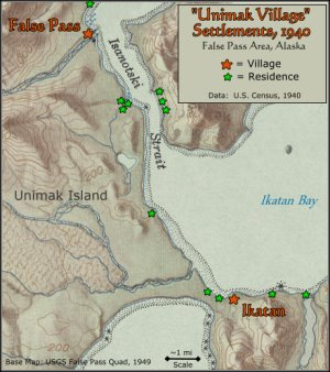 Unimak Village Settlements, 1940; False Pass, Alaska