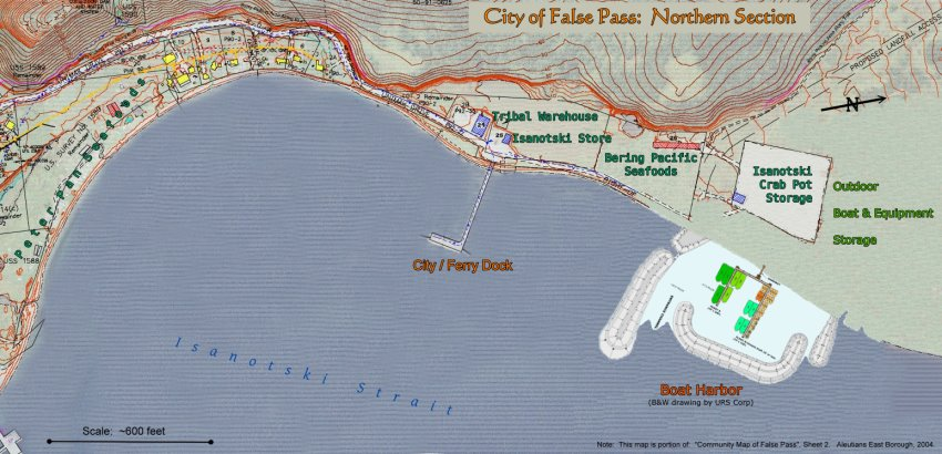 Map of False Pass, Alaska:  Northern Section