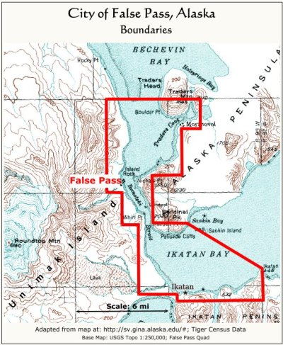 City of False Pass, Alaska:  Boundaries
