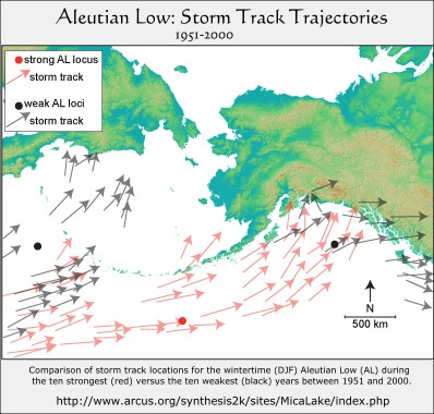 Aleutian Low Storm Trajectories