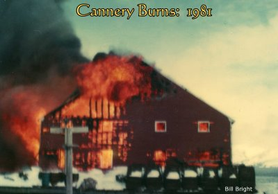 Cannery at False Pass, Alaska, burns, 1981