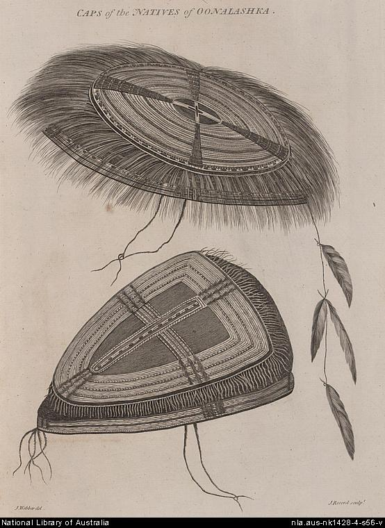 Caps of the Natives, Unangan (Aleut), Oonalashka, Capt. Cook's voyage