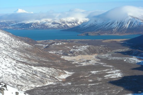False Pass, Alaska: Looking NE towards Alaska Peninsula
