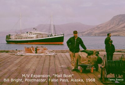 The M/V Expansion, Mail Boat at False Pass, Alaska, Bill Bright Postmaster 1968