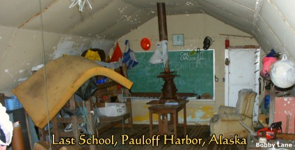 Pauloff Harbor, Sanak Island, Alaska:  Old Quonset Hut School, 2004