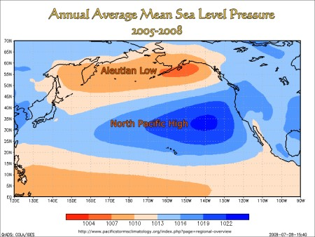 Annual Average Mean Sea Level Pressure, North Pacific