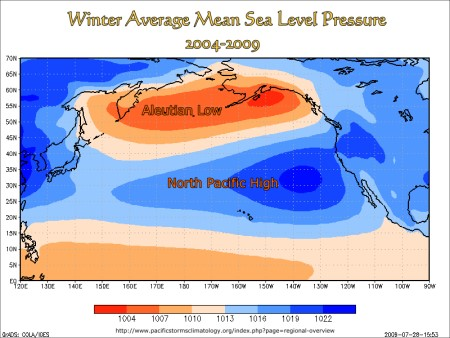 Winter Average Mean Sea Level Pressure, North Pacific