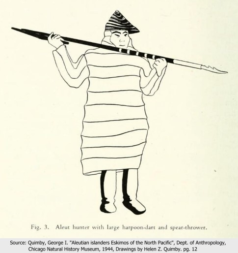 Aleut man with throwing board and spear