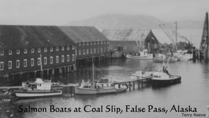 Salmon boats at Coal Slip, False Pass, Alaska, ca. 1963