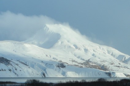 Sentinel Peak, Alaska Peninsula, snow blowing