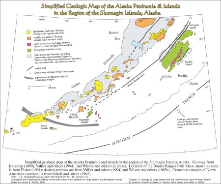 Simplified Geologic Map of Alaska Peninsula and nearby Islands