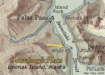 Sourdough Flats, Unimak Island, Alaska topo location