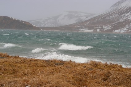 Stormy winter day on Isanotski Strait, Alaska
