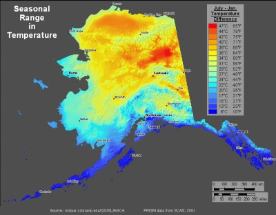 Seasonal Range in Temperatures:  Alaska