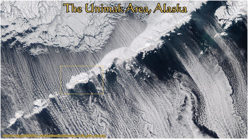 Unimak Area, Alaska:  Winter cloud streams seen from space