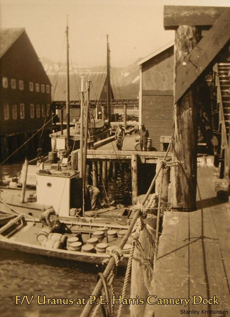 F/V Uranus at P.E. Harris cannery dock, 1930s