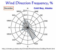Wind Direction Frequency, Cold Bay, Alaska:  December